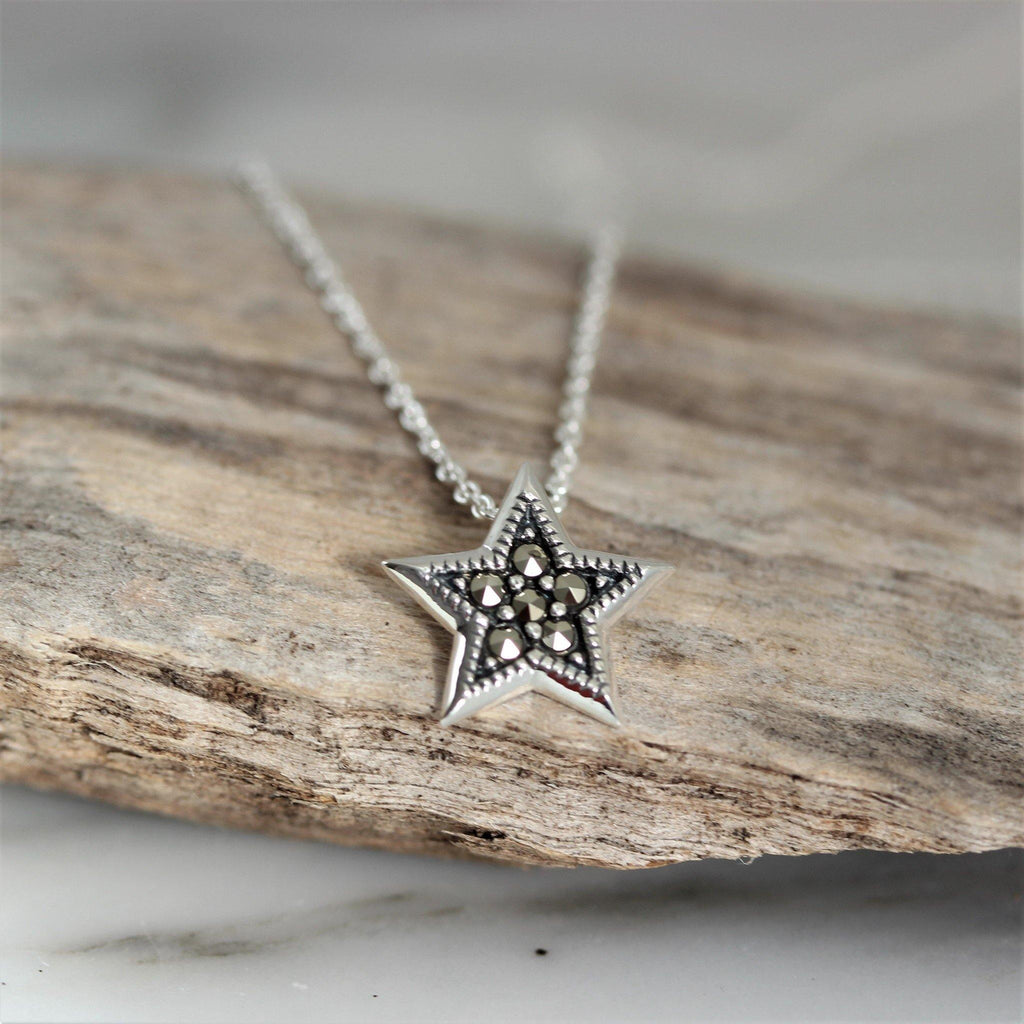 GIGI DESIGNS Sterling Silver 925 Marcasite 12mm Star Pendant & 40cm Necklace
