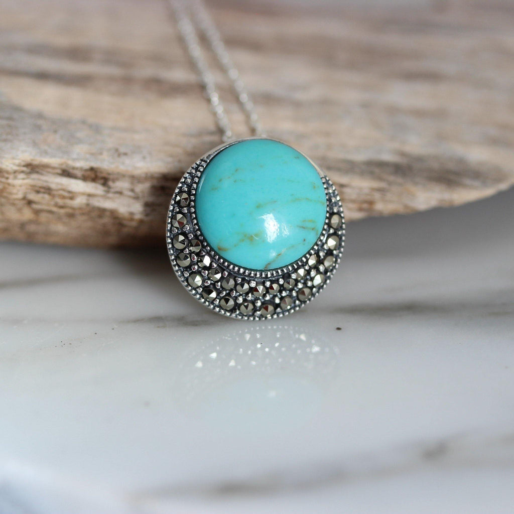 Sterling Silver 925 Marcasite & Recon Turquoise Vintage Inspired 45cm Necklace