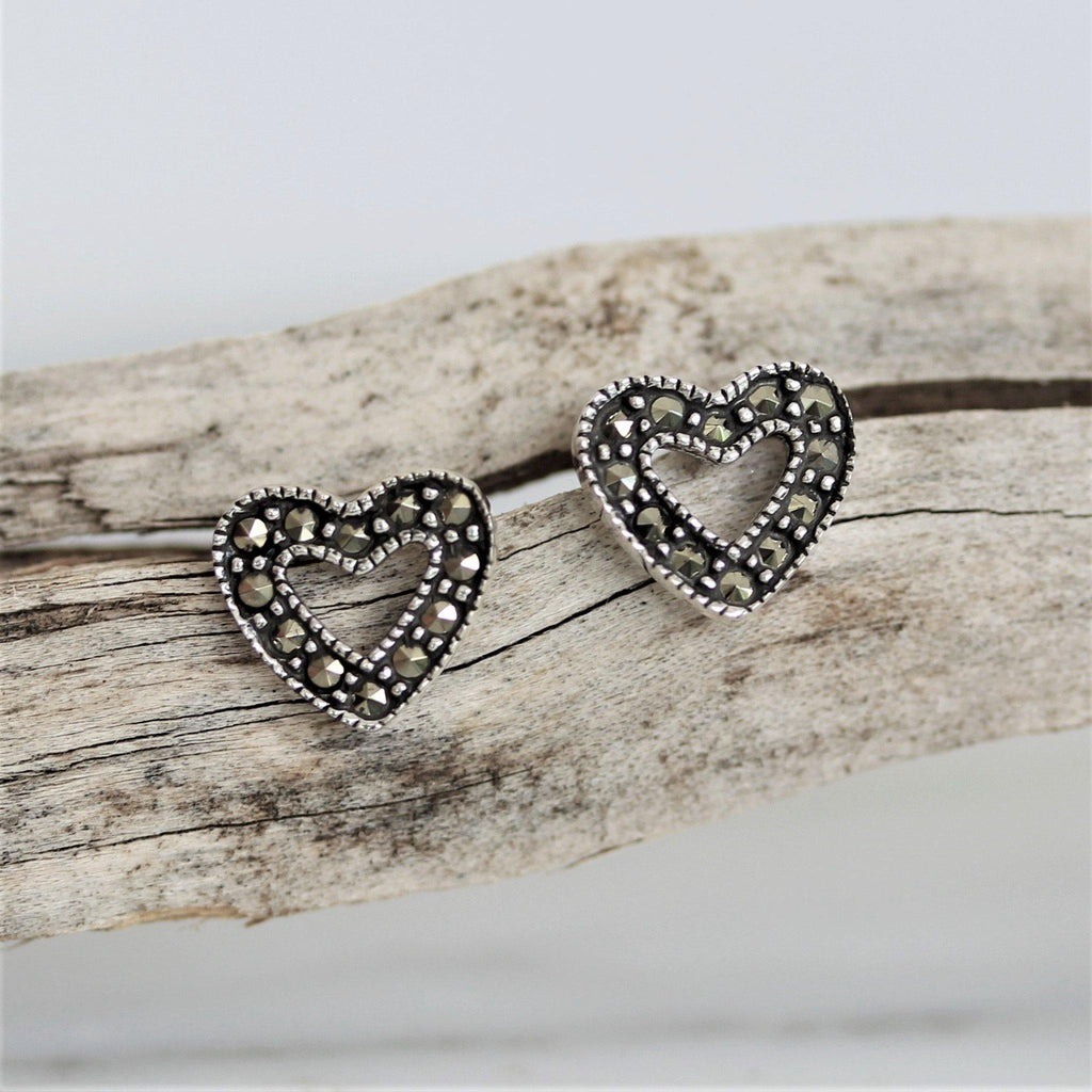 Sterling Silver 925 Marcasite Vintage Style Cut Out Love Heart Stud Earrings