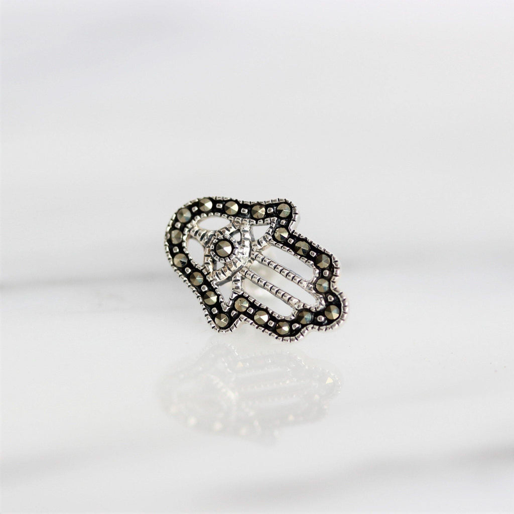 Sterling Silver 925 Marcasite Vintage Style Cut Out Hamsa Hand Stud Earrings
