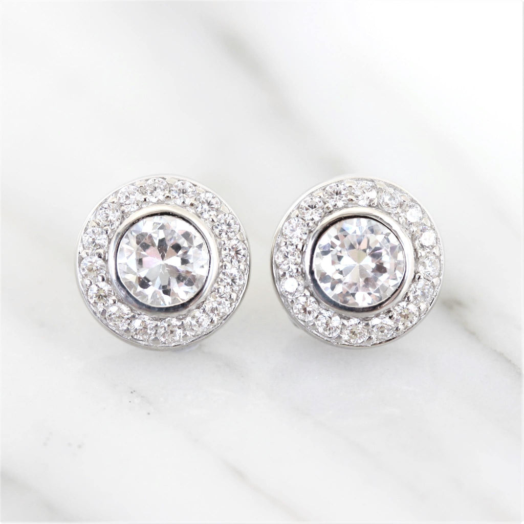 Sterling Silver 925 Bridal Wedding 10mm Bezel Set Halo CZ Stud Earrings