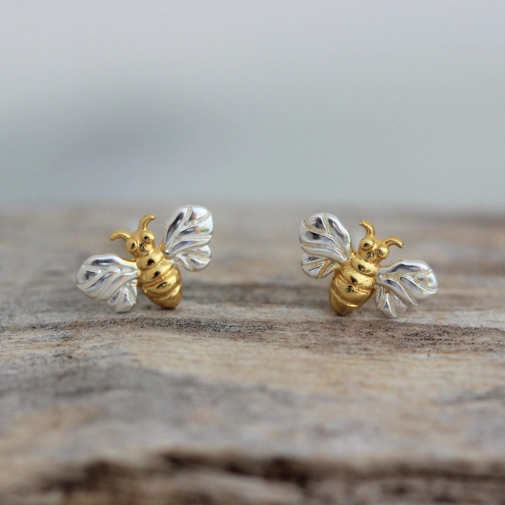 Sterling Silver 925 Yellow Gold Plate Two Tone Small Bumblebee Bee Stud Earrings