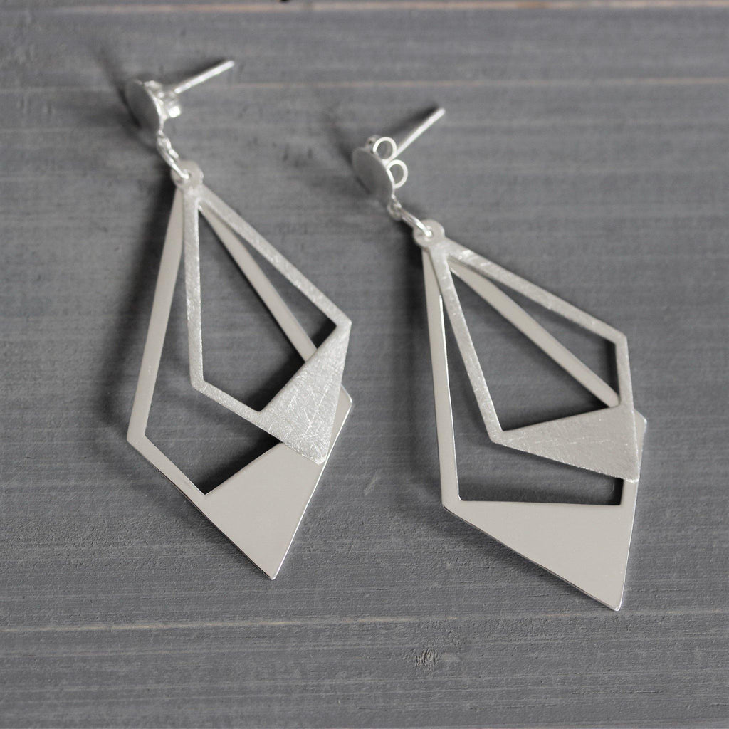 Genuine Sterling Silver 925 Geometric Modern Matt Finish Long Drop Earrings