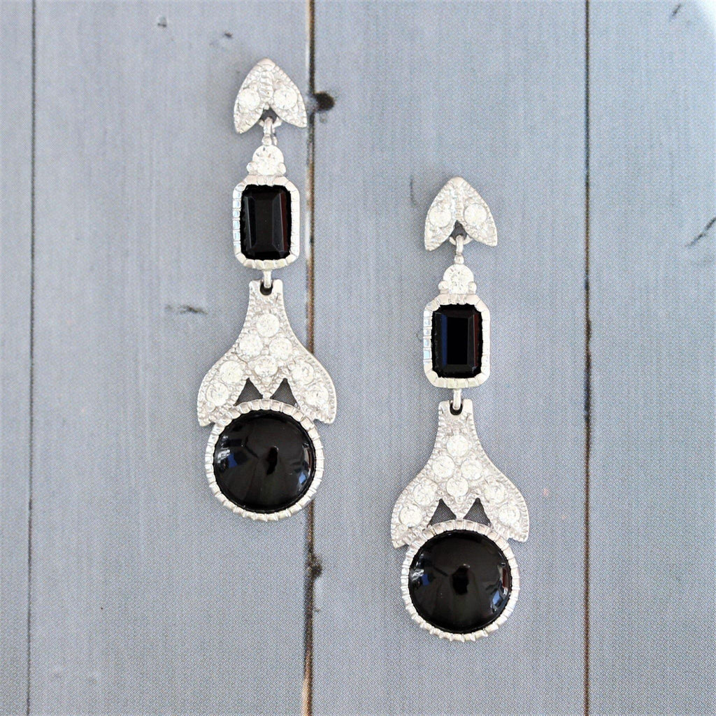 Sterling Silver 925 Art Deco Style Black Onyx & CZ Drop Earrings
