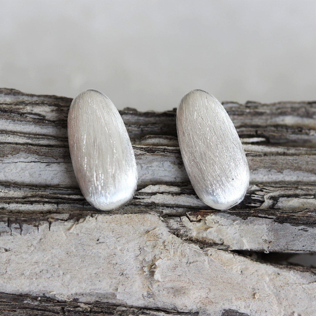 Sterling Silver 925 Brushed Textured Matt Look Thick Bar Drop Stud Earrings