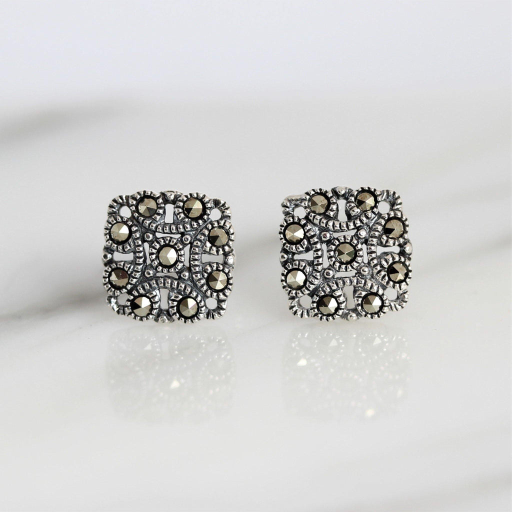 Sterling Silver 925 Art Deco Vintage Style Marcasite 9mm Square Stud Earrings