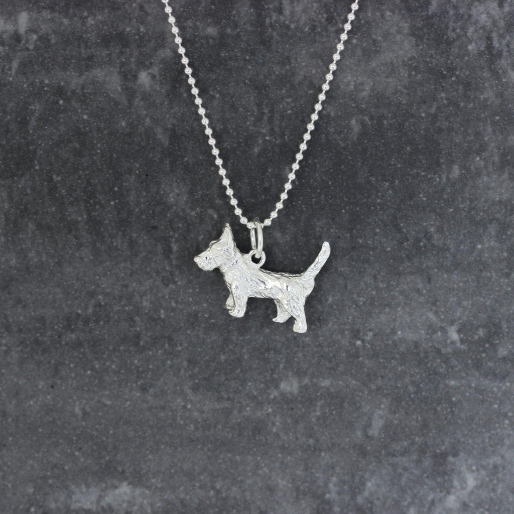 Sterling Silver 925 Scottish Terrier Dog Necklace 50cm Ball Bead Chain Necklace