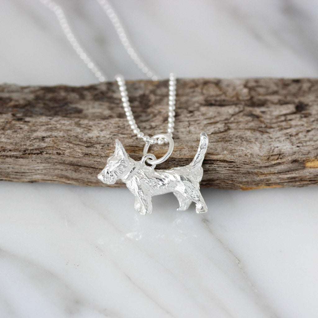 Sterling Silver 925 Scottish Terrier Dog Necklace 45cm Ball Bead Chain Necklace