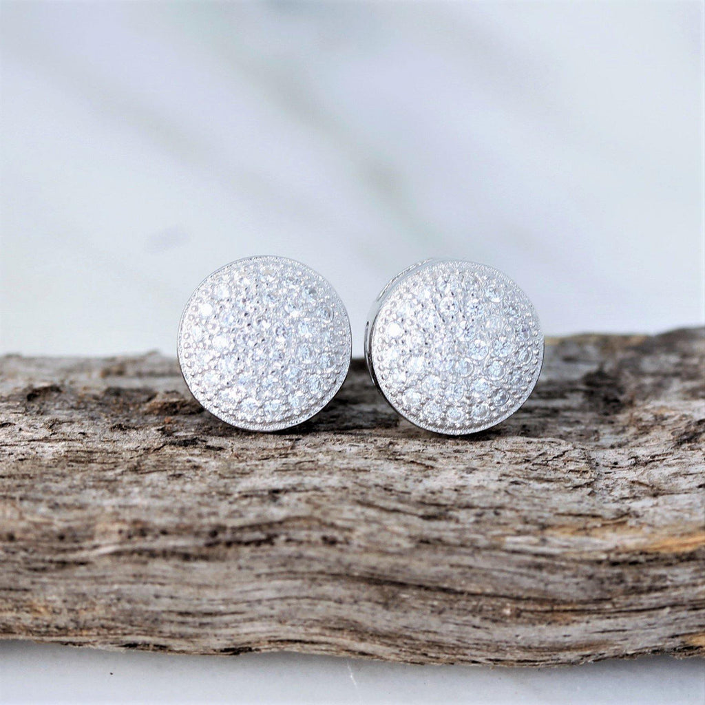 Sterling Silver 925 Bridal Wedding 9mm Round Flat Disc CZ Pave Set Stud Earrings