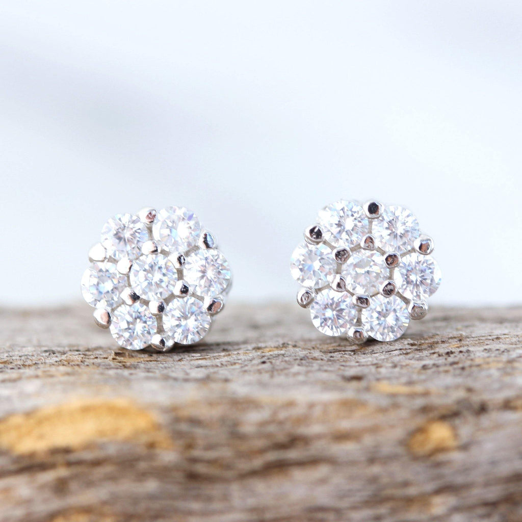 Genuine Sterling Silver 925 Bridal Wedding 7mm Flower Cluster CZ Stud Earrings