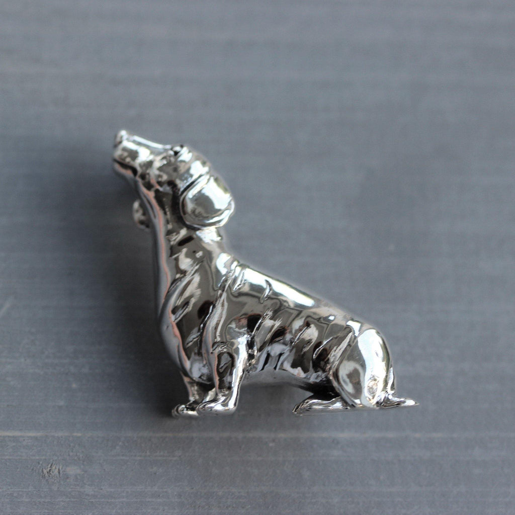 Genuine Sterling Silver 925 Dachshund Sausage Dog Brooch Pin Solid Silver Animal