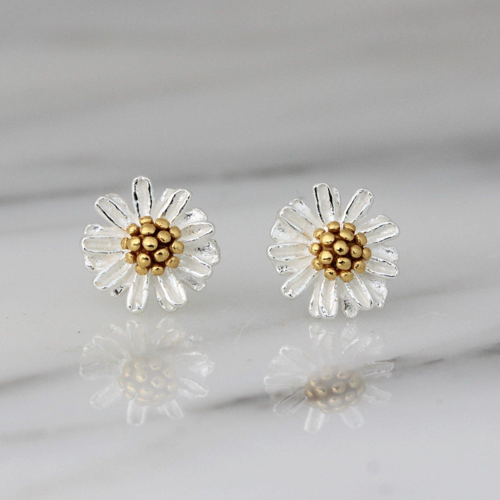 Sterling Silver 925 Yellow Gold Plate Two Tone 8.5mm Small Flower Stud Earrings