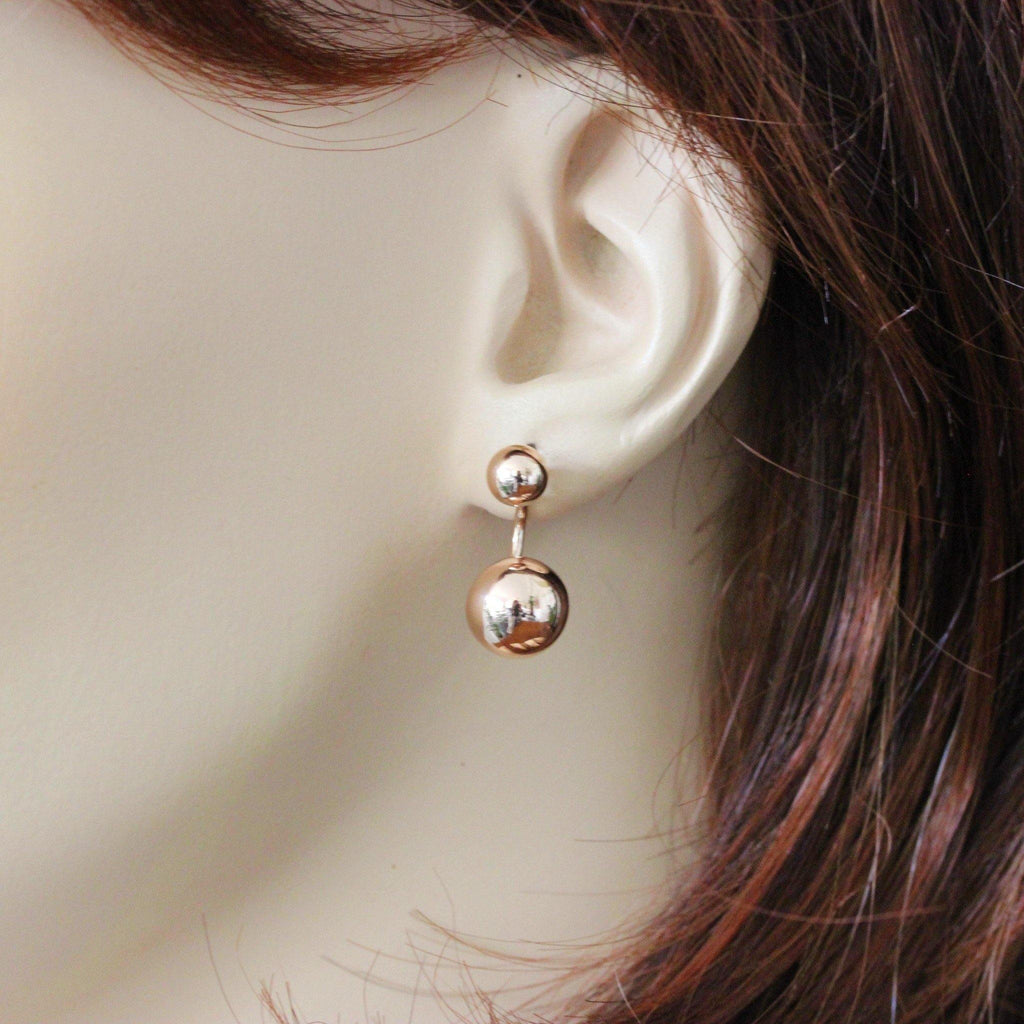 Sterling Silver 925 Rose Gold Plated Double Ball Front & Back Ear Jacket Earring