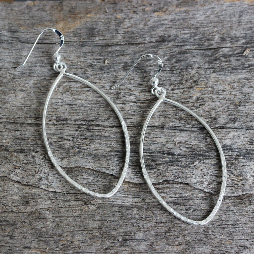 GIGI DESIGNS Sterling Silver 925 Big Open Teardrop Hammered Hook Drop Earrings