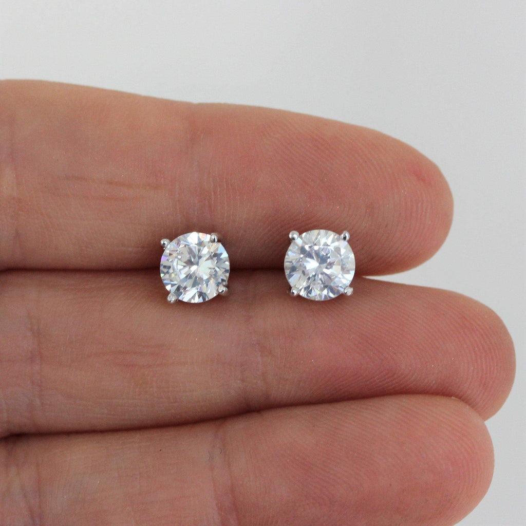 Genuine Sterling Silver 925 Art Deco Inspired 6.5MM Round CZ Stud Post Earring