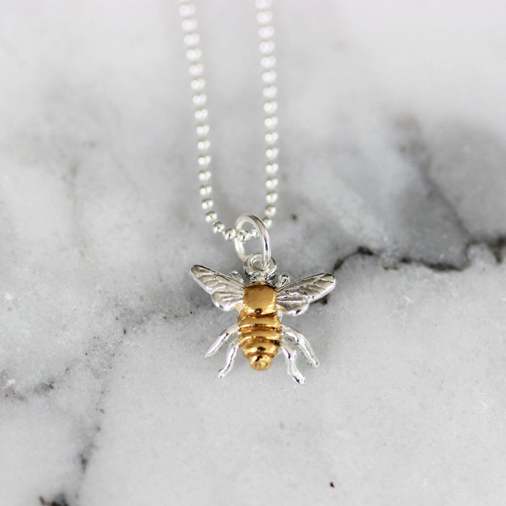 Sterling Silver 2 Tone Yellow Gold BumbleBee Bee Necklace 45cm Ball Bead Chain