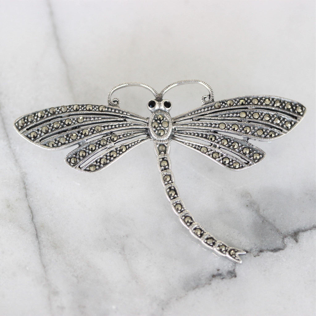Genuine Sterling Silver 925 Big Dragonfly Marcasite Vintage Inspired Brooch Pin