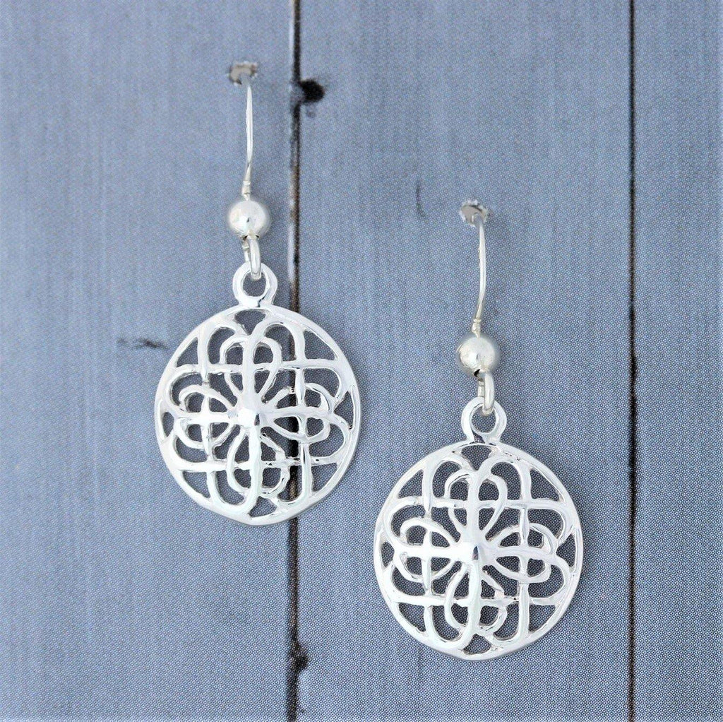 Genuine Sterling Silver 925 Cut Out Patterned 8mm Circle Drop Dangle Earrings