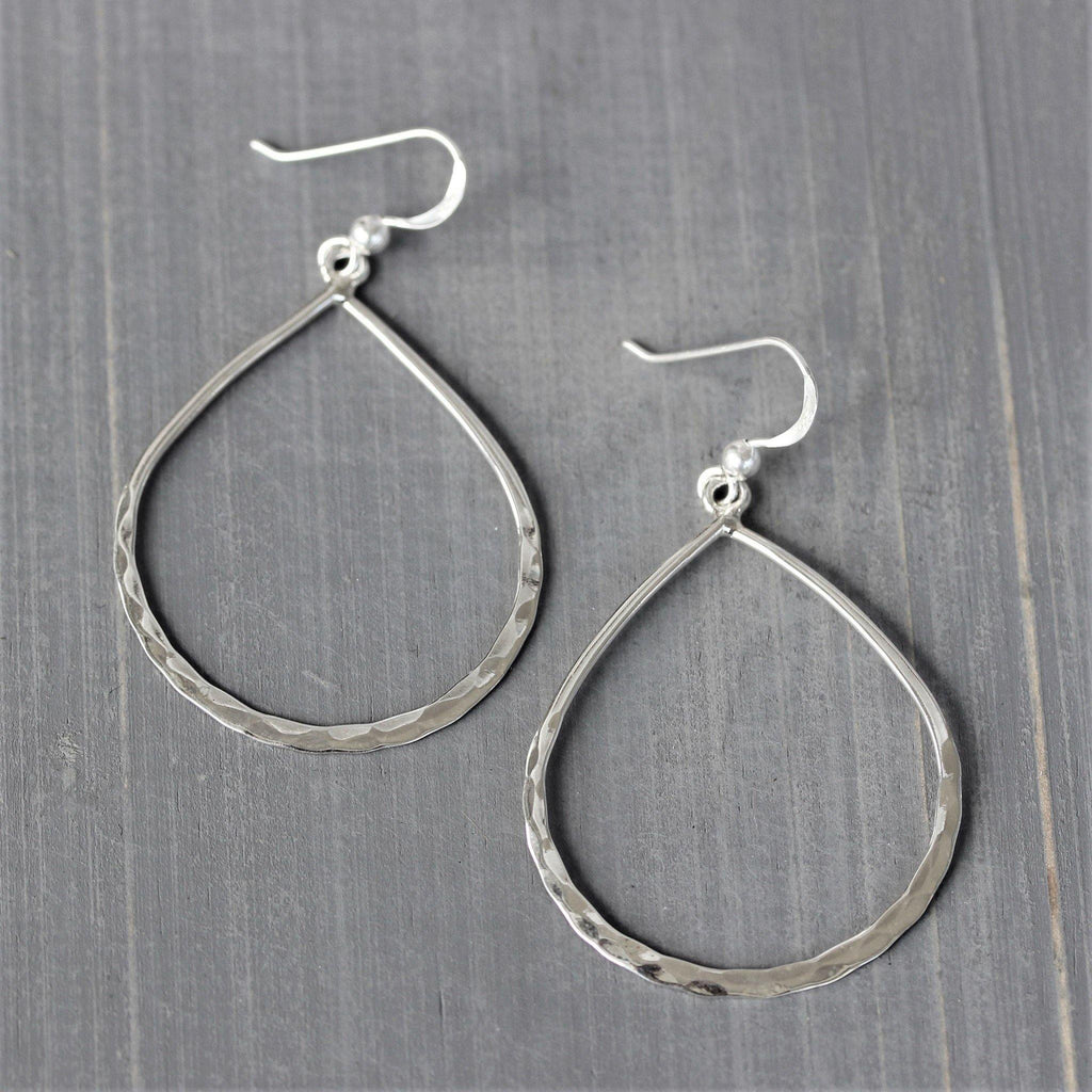 Genuine 925 Sterling Silver Big Open Teardrop Hammered Beaten Hook Drop Earrings