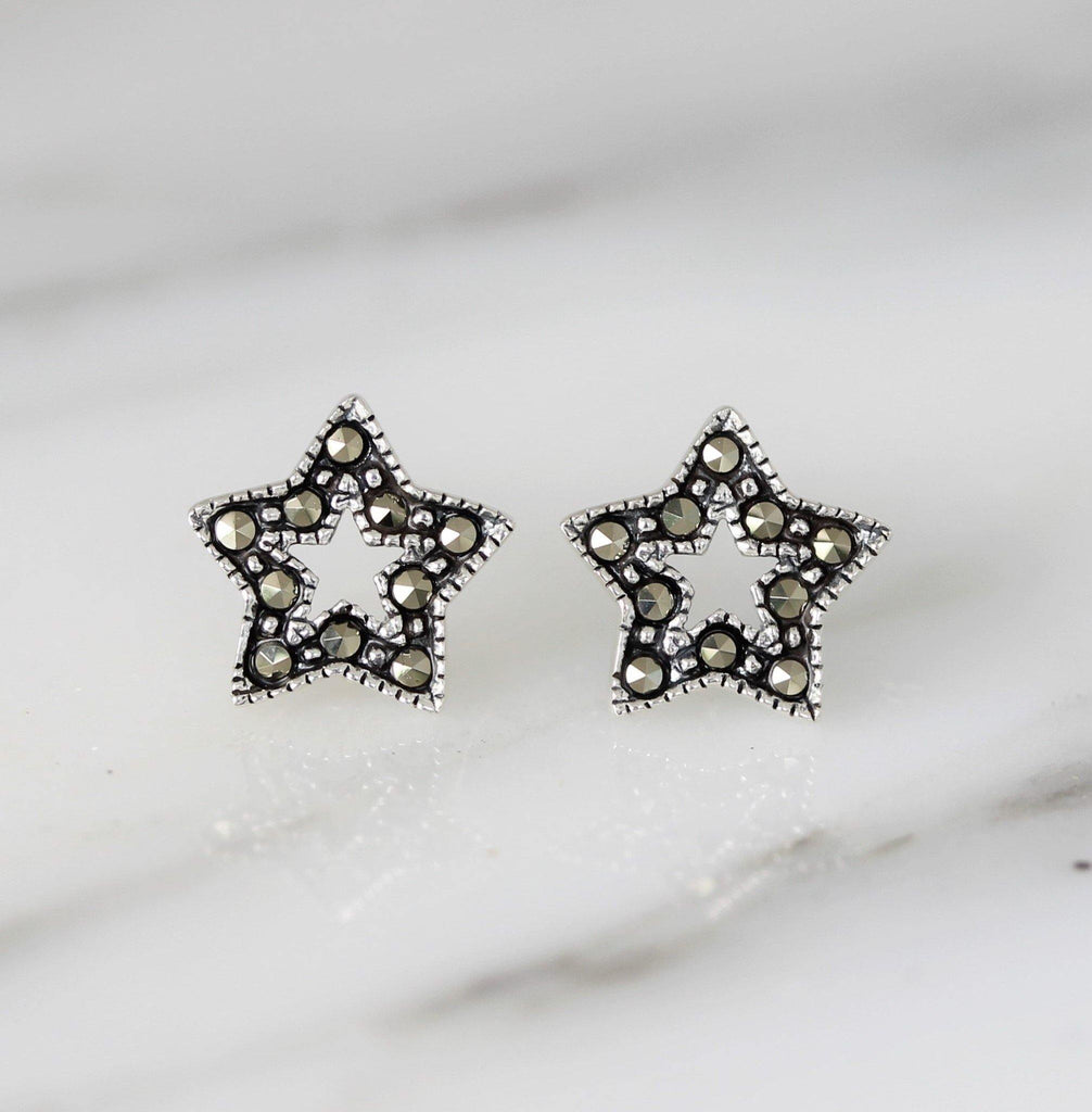GIGI DESIGNS Sterling Silver 925 9mm Cut Out Star Marcasite Stud Earrings