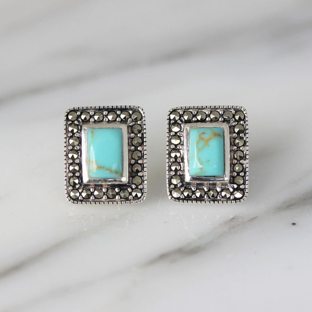 Sterling Silver 925 Marcasite & Recon Turquoise 10x12 Stud Earrings GIGI DESIGNS