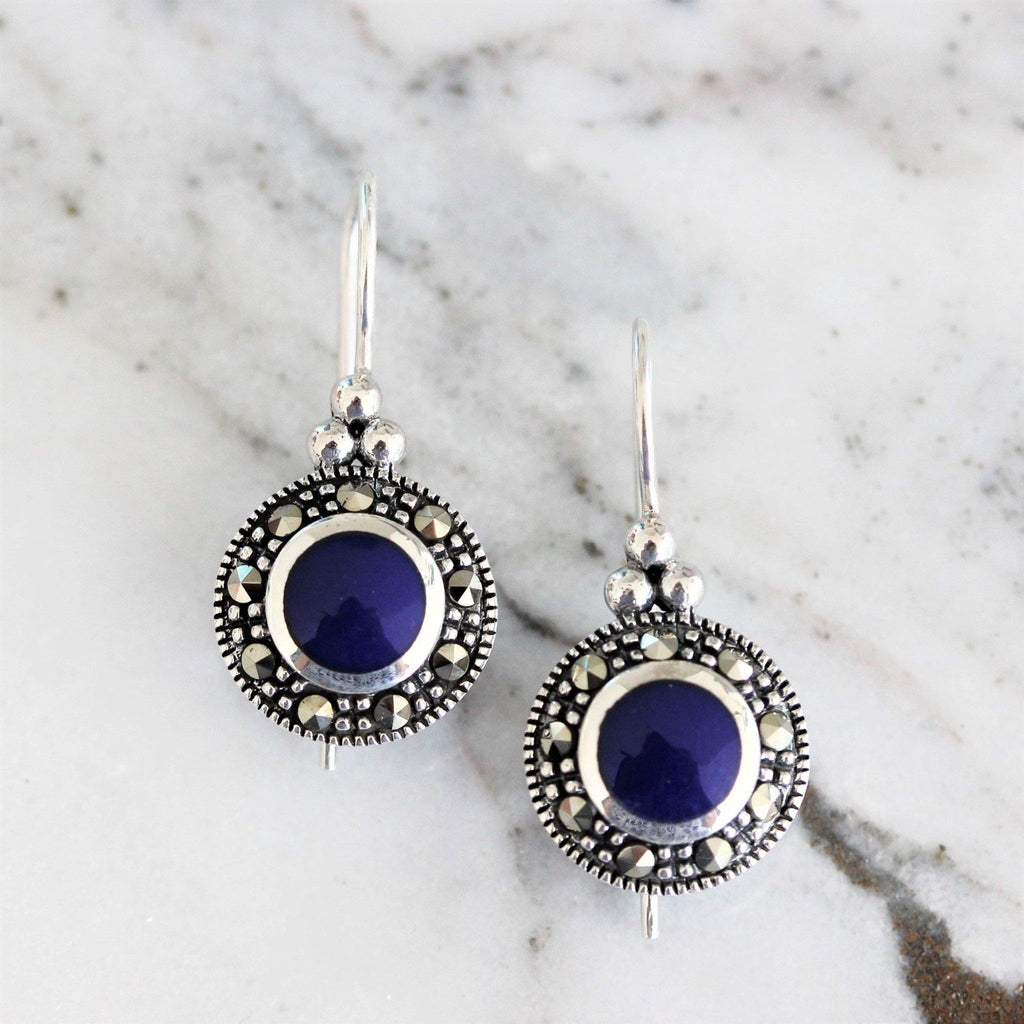 Sterling Silver 925 Marcasite & Blue Lapis Round Shape Leverback Drop Earrings