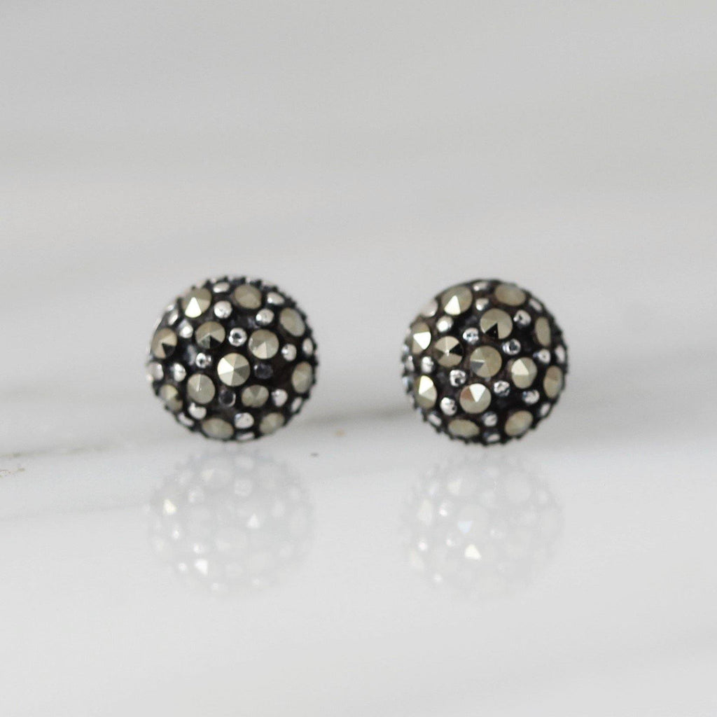 Genuine Sterling Silver 925 Marcasite Small 5mm Round Stud Earrings Vintage Look