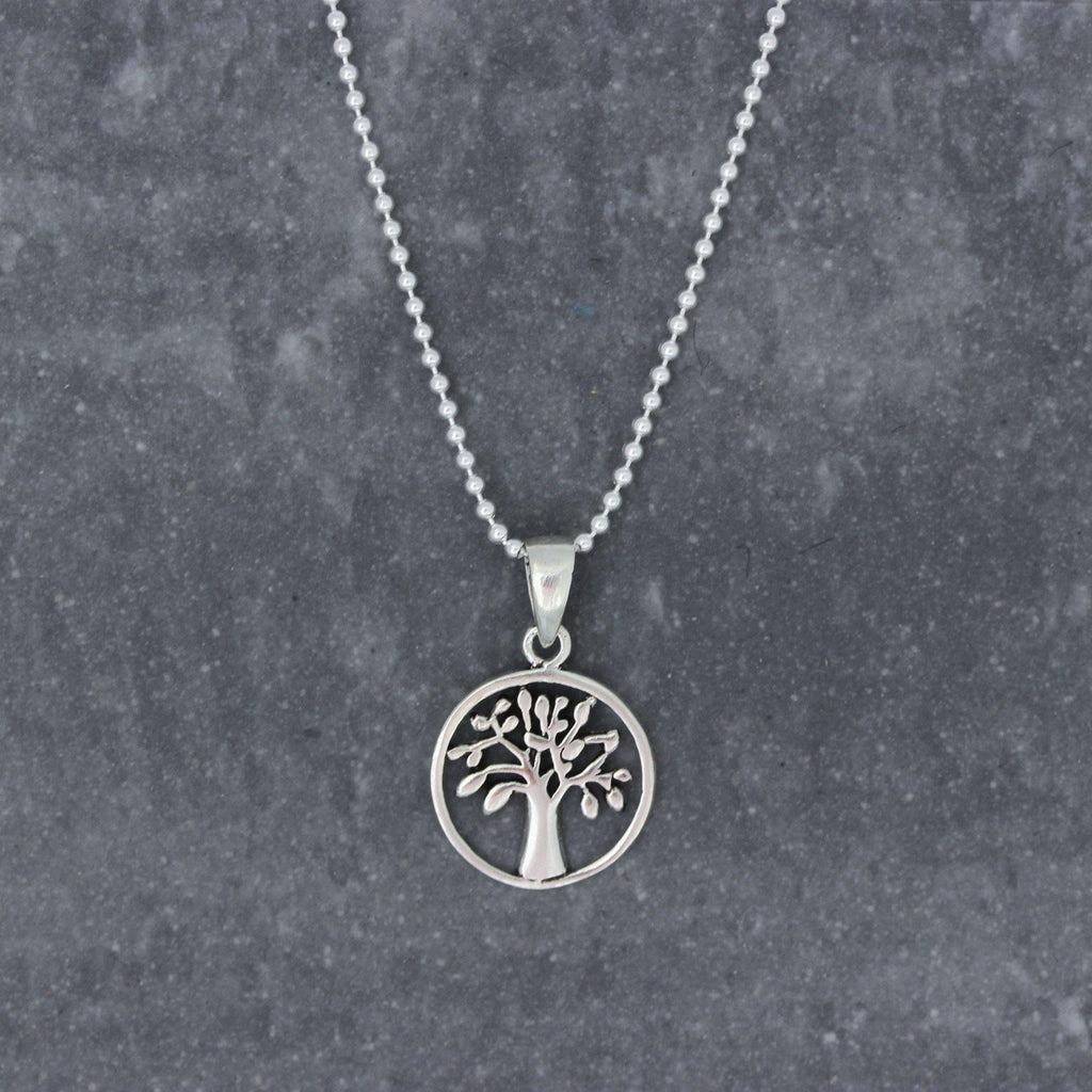 Genuine Sterling Silver 13mm Round 45cm Ball Chain Tree of Life Necklace Pendant