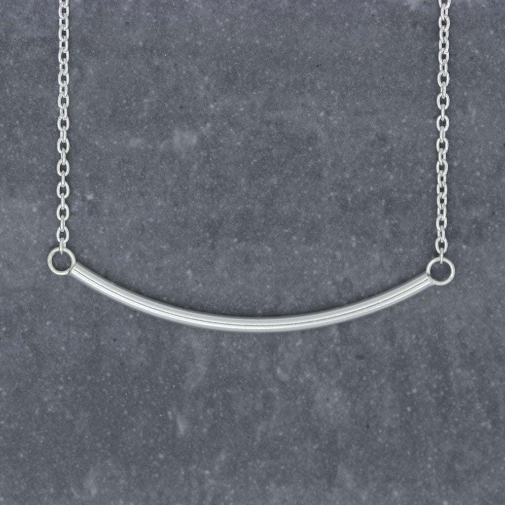 Genuine Sterling Silver Horizontal Round Bar Necklace 43.75cm (Bar - 2mm X 45mm)