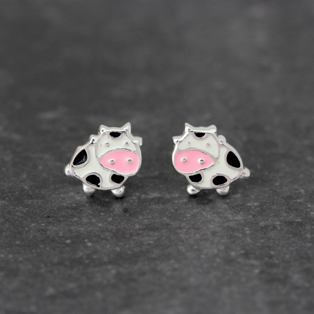 Genuine Sterling Silver 925 Girls Childrens Ladies Moo Cow Enamel Stud Earrings