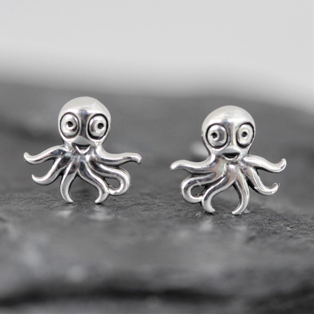 Genuine Sterling Silver 925 Octopus Stud Earrings Girls Ladies Kids Earrings