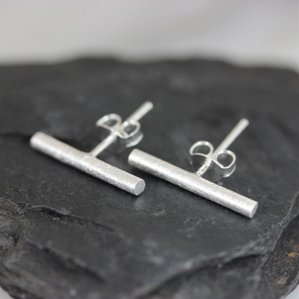 Sterling Silver 925 2x16mm Simple Bar Stick Stud Earrings Matt Brushed Finish