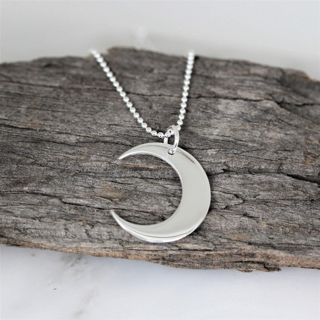 Genuine Sterling Silver 925 Crescent Moon Necklace Pendant 45cm Ball Necklace