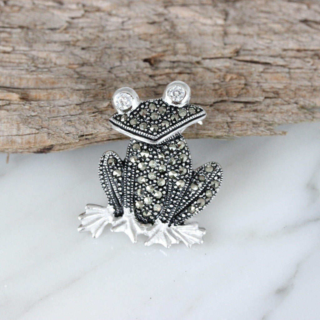 Genuine Sterling Silver 925 Marcasite & CZ Vintage Inspired Frog Brooch Pin