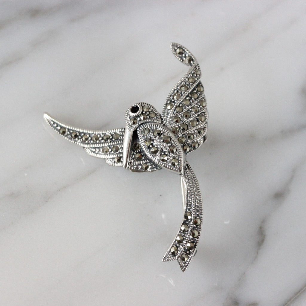 Genuine Sterling Silver 925 Marcasite Vintage Inspired Bird Brooch Pin