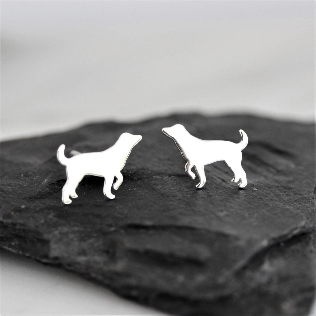Genuine Sterling Silver 925 Dog Animal Stud Earrings Medium to Big Size Dog