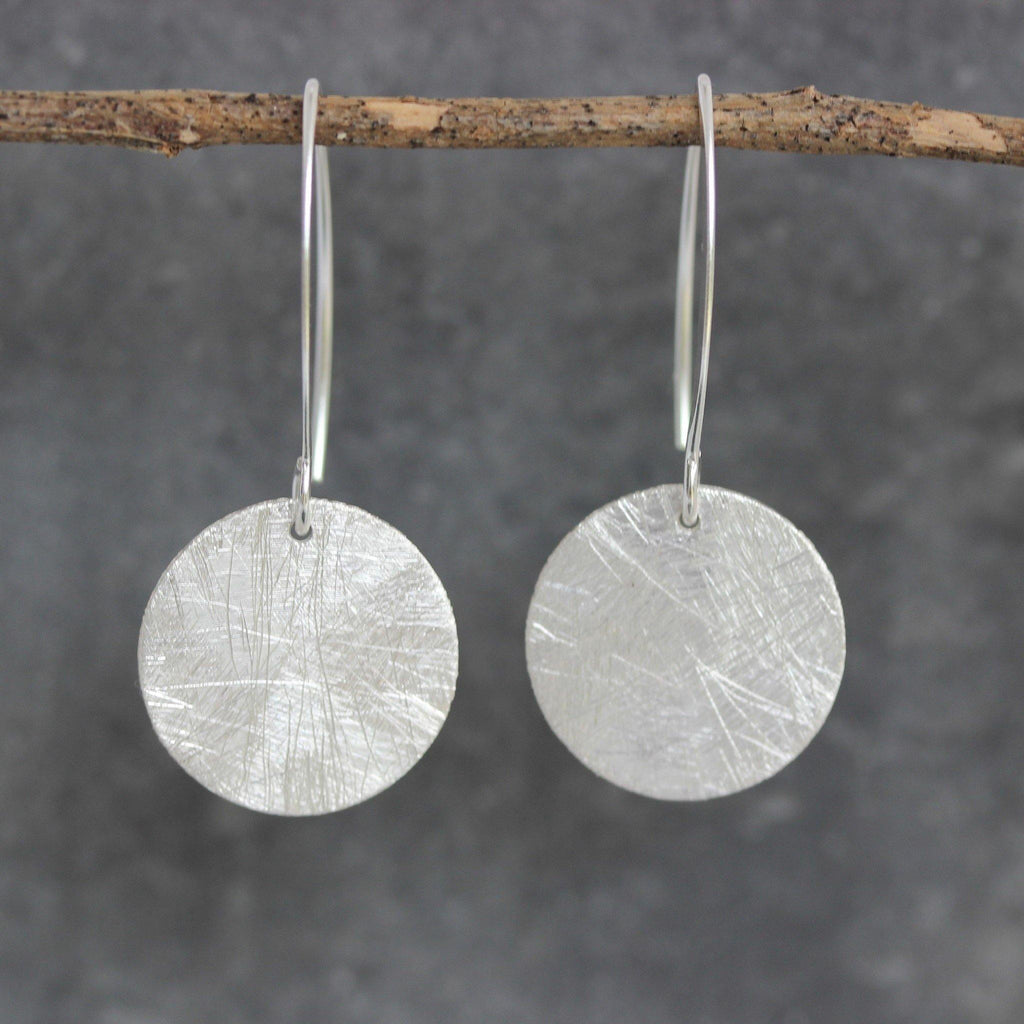 Sterling Silver 925 Matt Brushed Finish 17mm Round Circle Disc Drop Earrings