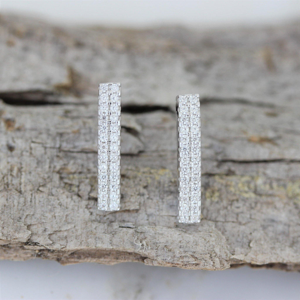 Genuine Sterling Silver 925 15mm x 3mm CZ Vertical Bar Stud Post Earrings