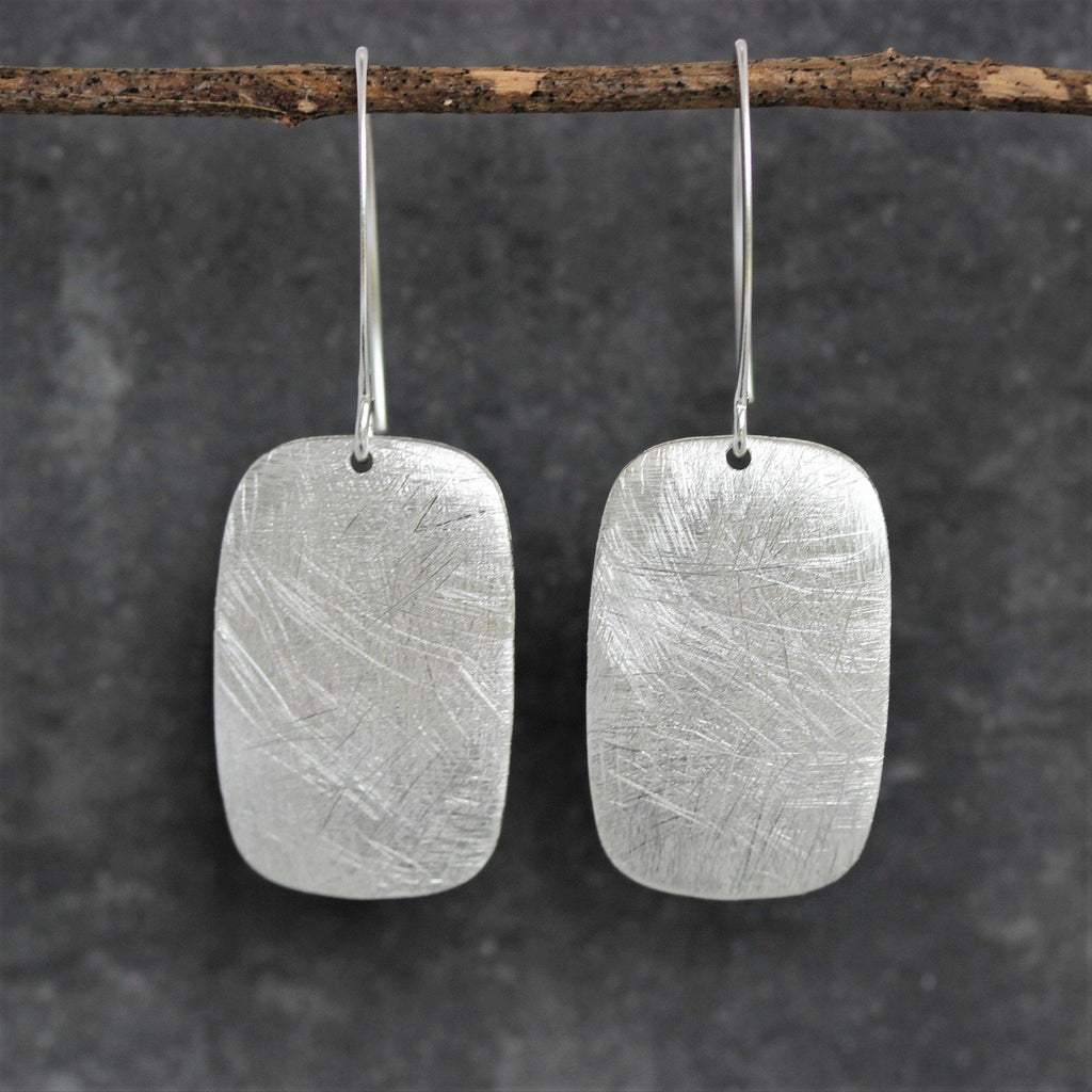 Sterling Silver 925 Matt Brushed Finish Rectangular Shape Drop Dangle Earrings