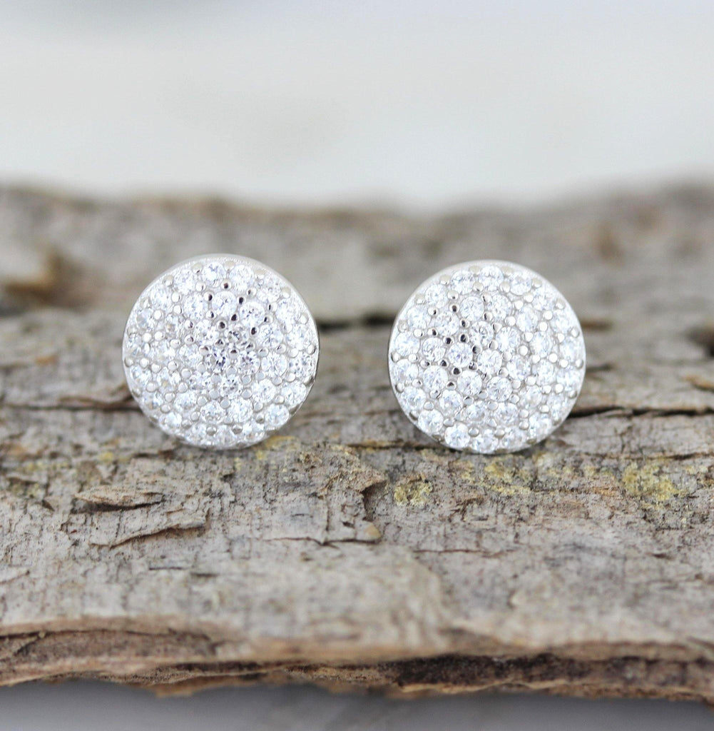 Sterling Silver 925 Bridal Wedding 8.5mm Round Flat Disc CZ Pave Stud Earrings