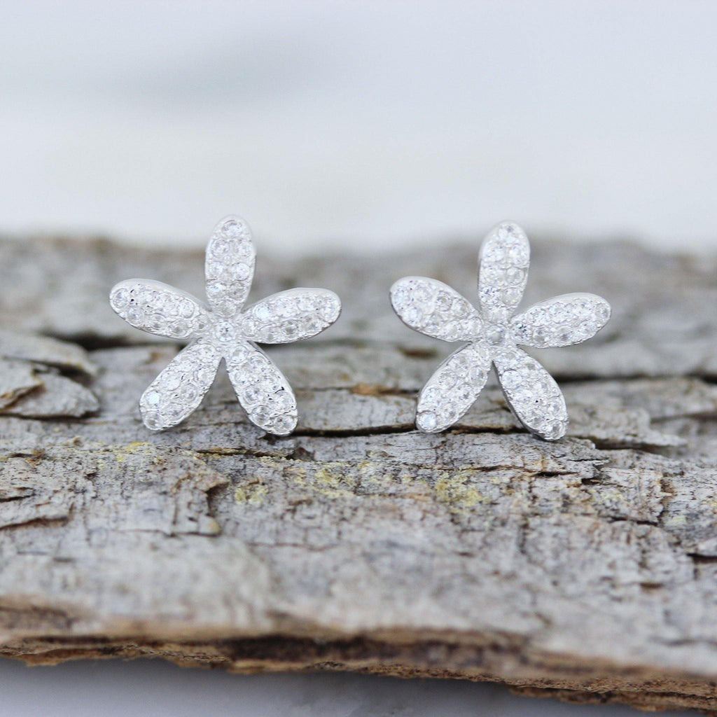 Genuine Sterling Silver 925 Bridal Wedding 12mm Daisy Flower CZ Stud Earrings