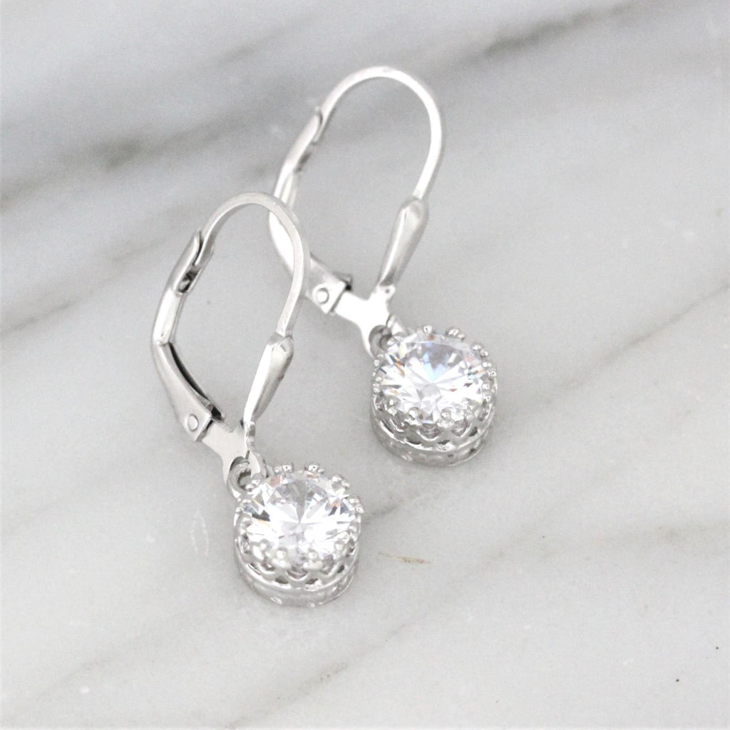 Genuine Sterling Silver Bridal Wedding 925 7mm Round CZ Leverback Drop Earrings
