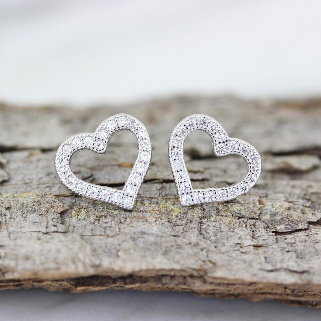 Genuine Sterling Silver 925 Open Heart CZ Vintage Inspired Stud Earrings