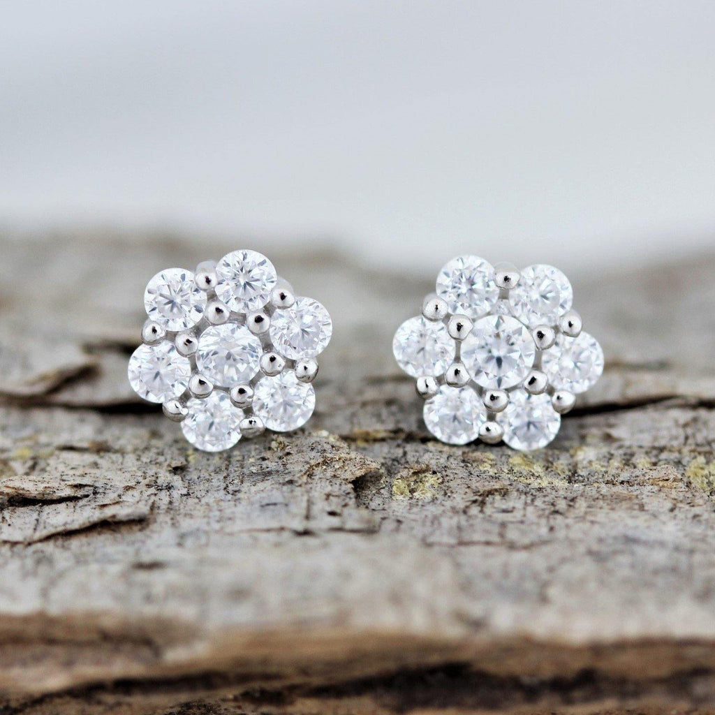 Sterling Silver 925 Bridal Wedding 6mm Flower Cluster CZ Stud Earrings