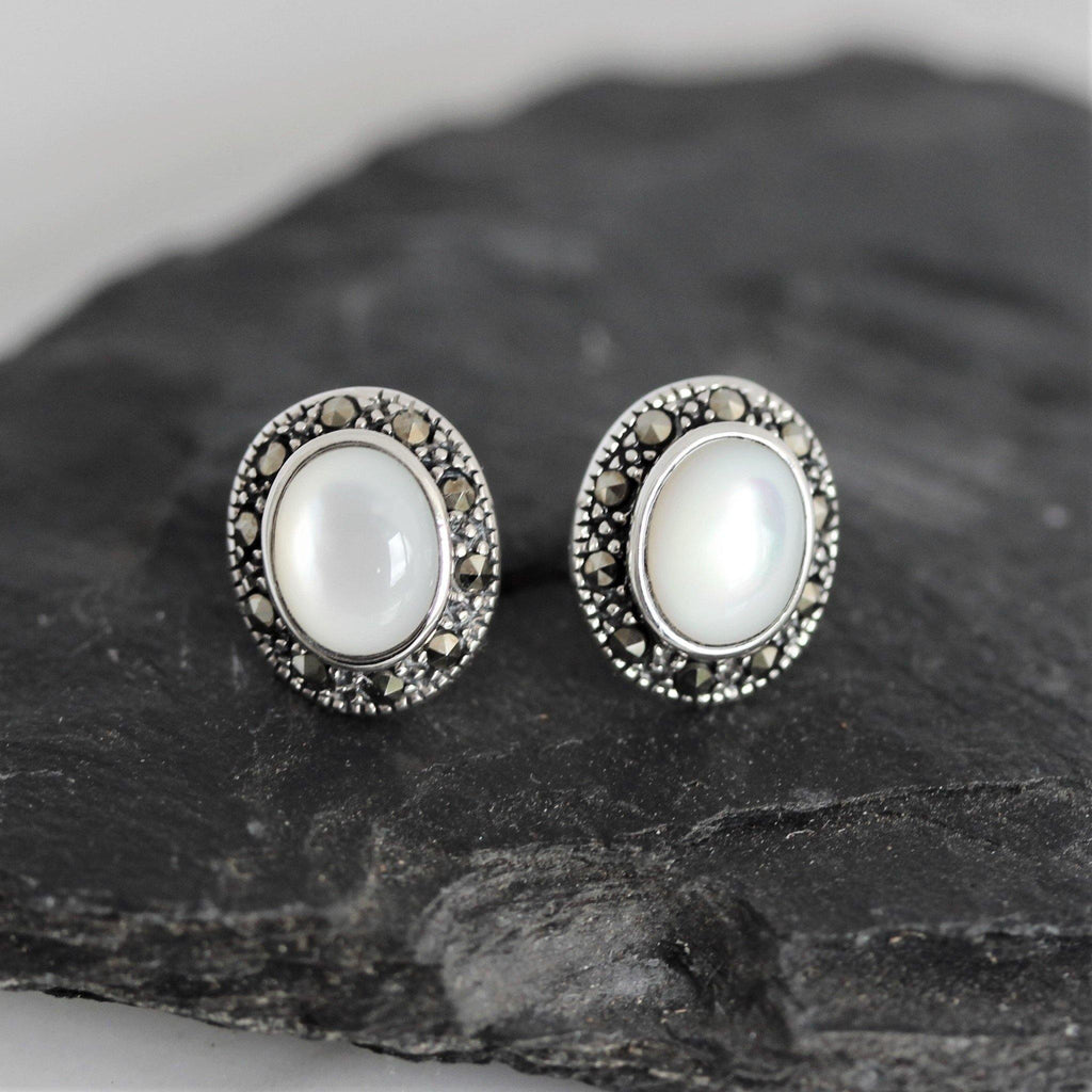 Sterling Silver 925 Marcasite & Mother of Pearl Oval Stud Earrings 9 X 11mm