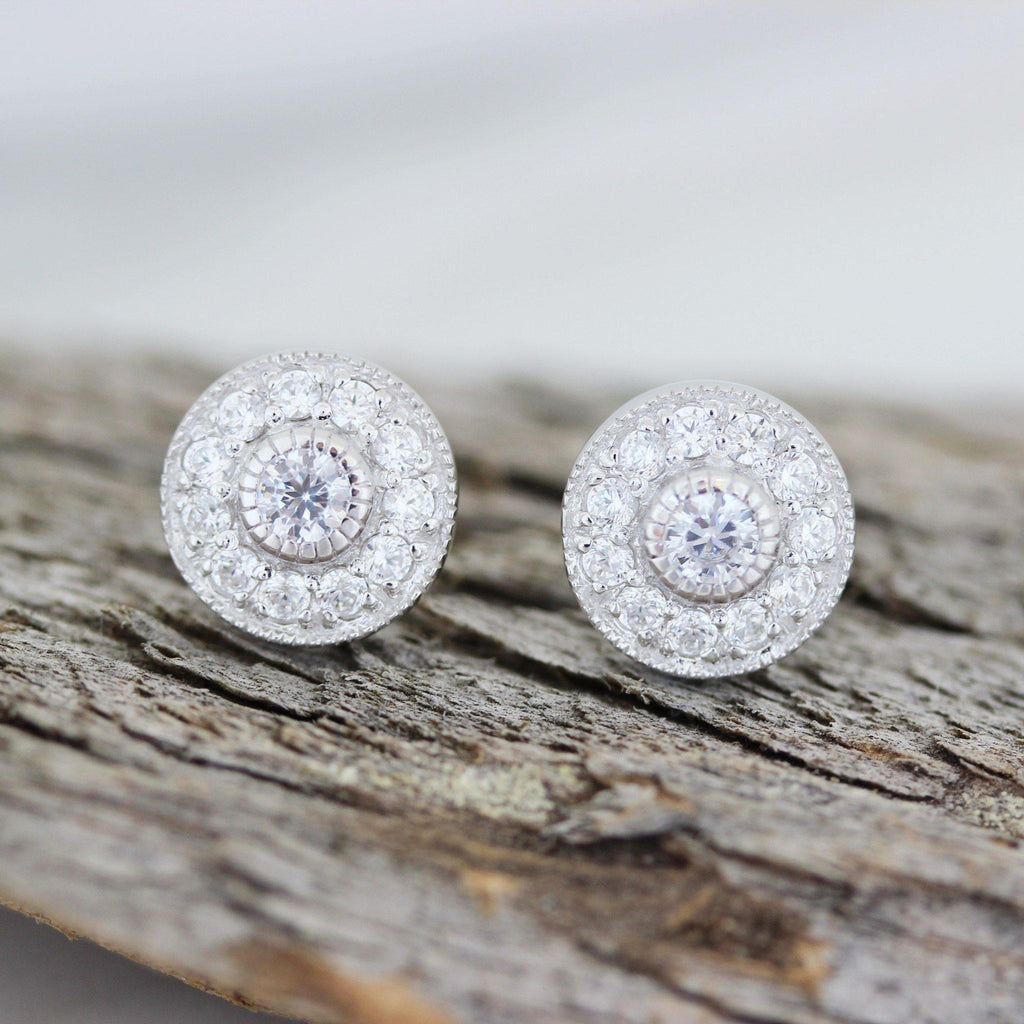 Genuine Sterling Silver Bridal Wedding CZ Vintage Style 9mm Round Stud Earrings