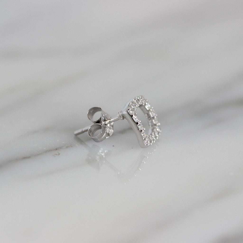 Genuine Sterling Silver 925 8mm Cut Out Open Square Shape CZ Stud Earrings