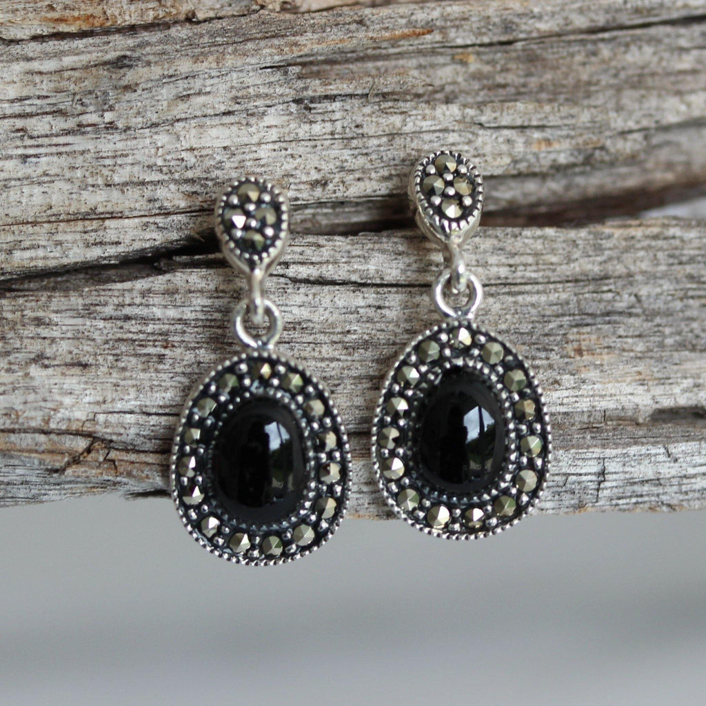 Sterling Silver 925 Marcasite & Oval Shape Black Onyx Drop Earrings Vintage Look