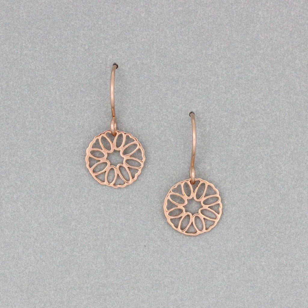 GIGI DESIGNS Sterling Silver Rose Gold Plated 11mm Round Geometric Drop Earrings