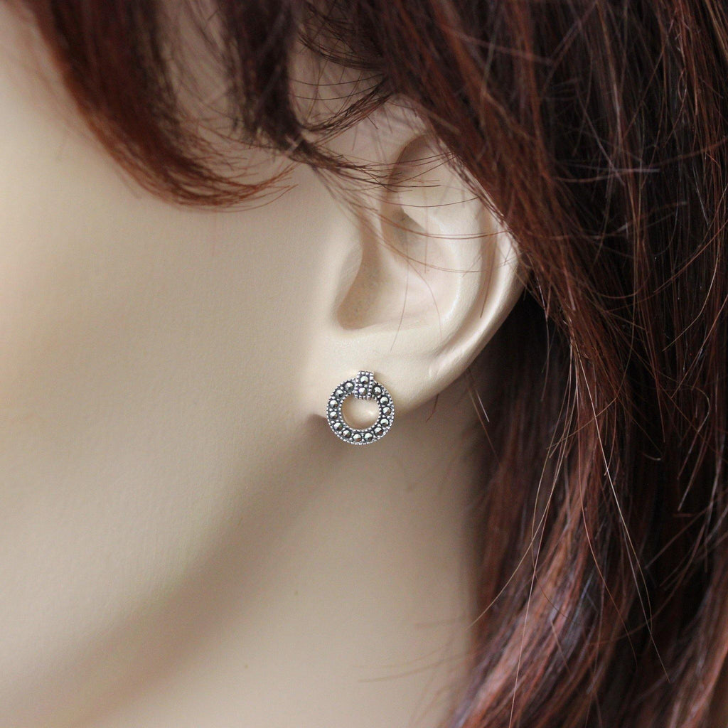 Genuine Sterling Silver Marcasite Vintage Style 9mm Round Cut Out Stud Earrings